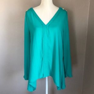 NY Collection Teal Asymmetrical Blouse